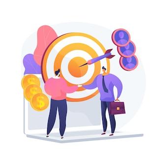 Zakelijk partnerschap, teamwerk, samenwerking. een deal maken, het bereiken van doelen, nuttige samenwerking. handshaking zakenlieden stripfiguren. vector geïsoleerde concept metafoor illustratie.