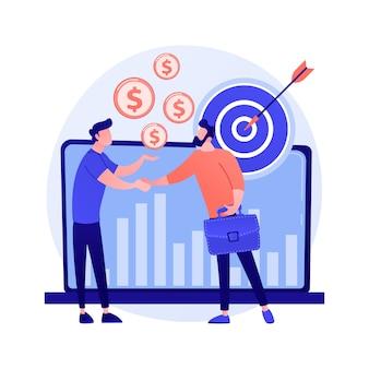 Zakelijk partnerschap, teamwerk, samenwerking. een deal maken, het bereiken van doelen, nuttige samenwerking. handshaking zakenlieden stripfiguren