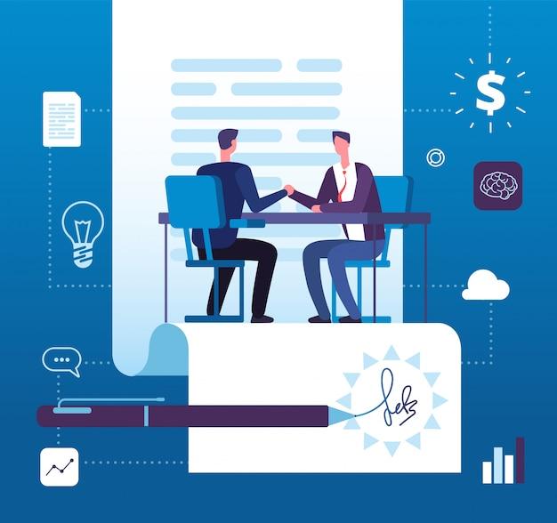 Zakelijk partnerschap. zakenlieden investeerders handshaking met instemming.