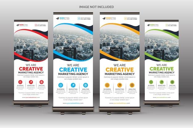 Zakelijk roll-up banner sjabloon uniek ontwerp