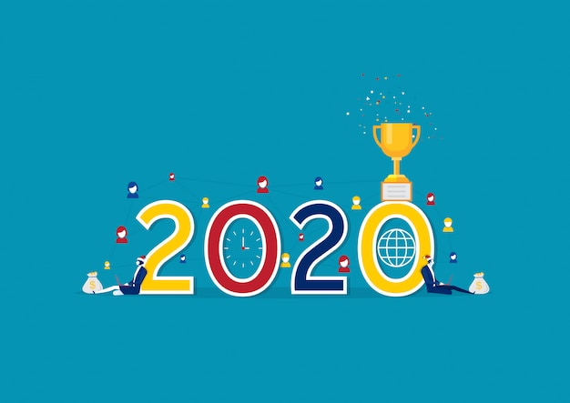 Zakelijk social media netwerk 2020. illustratie kan worden gebruikt voor onderwerpen zoals nieuwjaar,