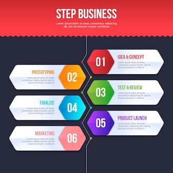 Zakelijk stappen infographic ontwerp