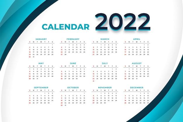 Zakelijk stijl 2022 nieuwjaarskalenderontwerp