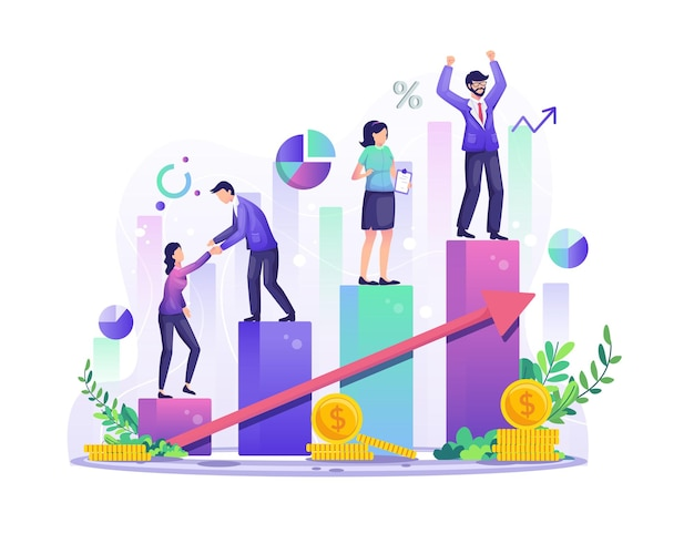 Zakelijk succes concept zakenmensen klimmen de staafdiagram door een kolom voor kolom voor hun succes illustratie