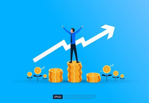 Zakelijk succes financiën investeringsconcept met zakenman en munt stapels symbool illustratie.