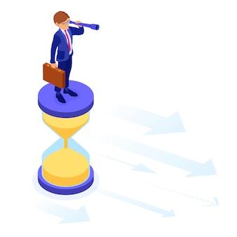 Zakelijk succes. isometrische zakenman staat op zandloper en kijkt door verrekijker naar nieuwe kansen. tijdmanagement, visie, planning, toekomstige trends, nieuwe horizonten voor uw bedrijf.