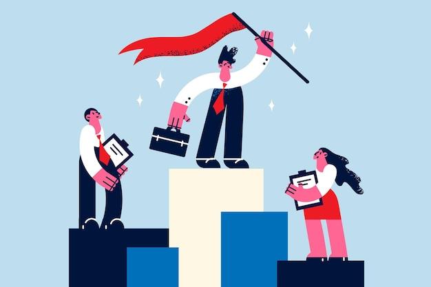 Zakelijk succes, leiderschap en prestatie concept. jonge zakenman die zich bovenop podium op eerste plaats bevindt over collega's op tweede en derde plaatsen vectorillustratie