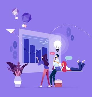 Zakelijk team denken over opstarten en brainstormen