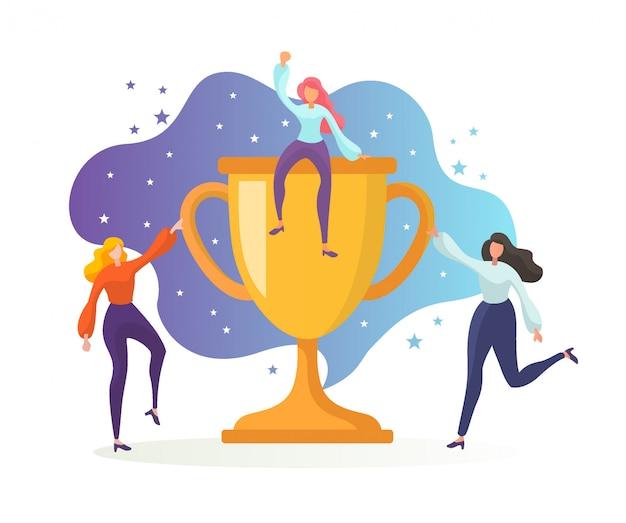 Zakelijk teamsucces, de prijs behalen, gouden beker. kantoormedewerkers vieren de overwinning met trophy.
