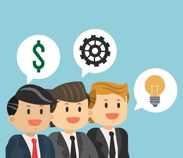 Zakelijk teamwerk met idee