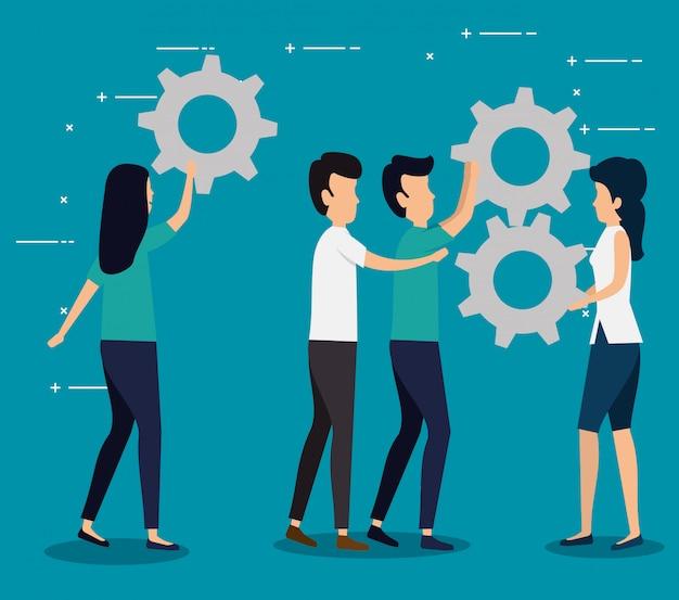 Zakelijk teamwerk met tandwielindustrie