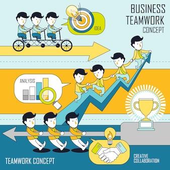 Zakelijk teamwerkconcept in lijnstijl