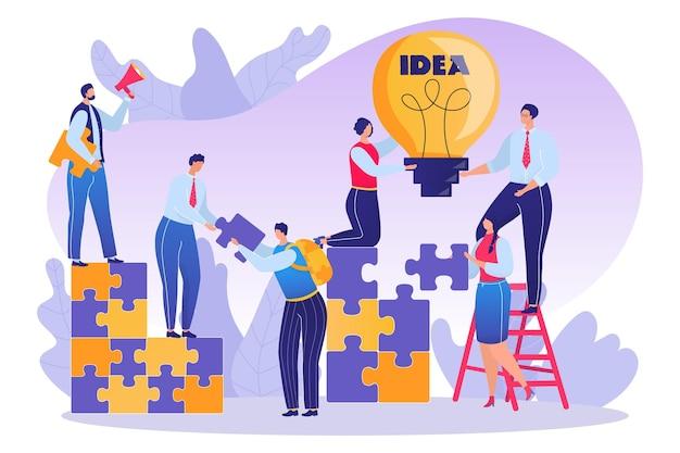 Zakelijk teamwork met puzzel concept vector illustratie kleine man vrouw karakter teamwerk voor ide...