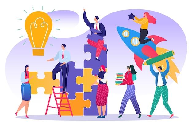 Zakelijk teamwork met puzzel concept, vectorillustratie. man vrouw karakter team werken in partnerschap, samen idee maken. vrouwelijke persoon
