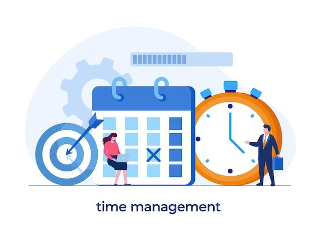 Zakelijk tijdbeheer, deadlineconcept, planner, organisator, tijdherinnering, platte vectorillustratiebanner