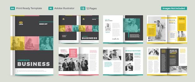 Zakelijk tijdschriftontwerp of redactionele lookbook of multifunctionele tijdschriftlay-out