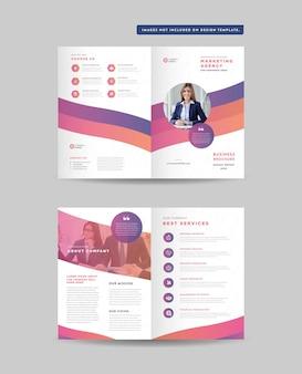 Zakelijk tweevoudig brochureontwerp en dubbelzijdige brochure