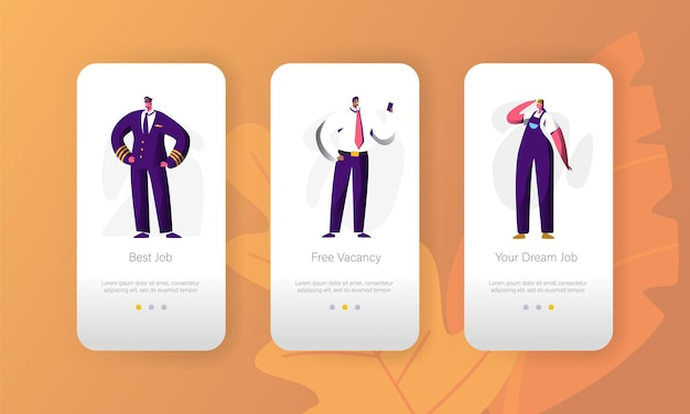Zakelijk vacant beroep kans karakter mobiele app-pagina schermset aan boord.