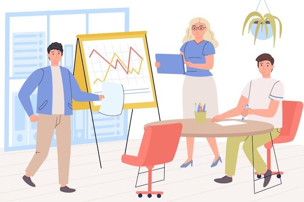 Zakelijk vergaderconcept werknemers maken presentatie op conferentie brainstormen
