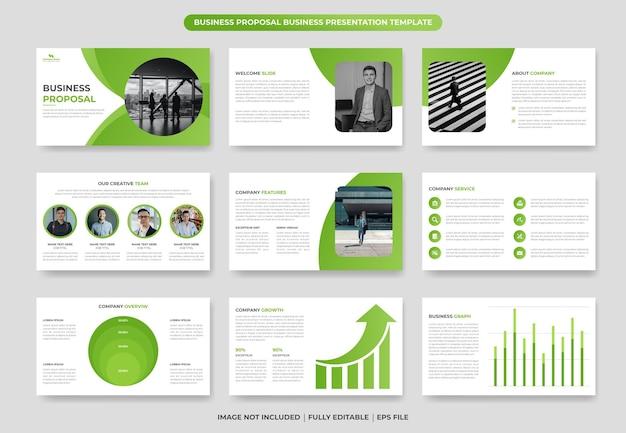 Zakelijk voorstel powerpoint-presentatiesjabloonontwerp of bedrijfsjaarverslagontwerp