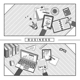 Zakelijk werkplekconcept in komische lijnstijl