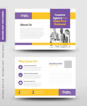 Zakelijk zakelijk briefkaartontwerp of bewaar de datumuitnodigingskaart of direct mail eddm-ontwerp
