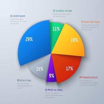 Zakelijke 3d-cirkeldiagram voor presentatie en kantoorwerk. infographic vectorelement