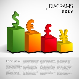 Zakelijke 3d-staafdiagramsjabloon met tekstvelden en correlatie van wisselkoersen