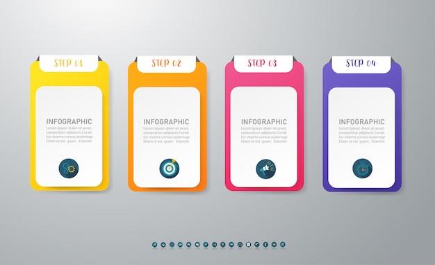 Zakelijke 4 optie infographic grafiekelement.