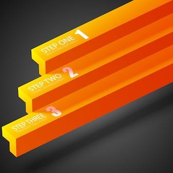 Zakelijke abstracte infographic met oranje rechte balken en drie opties op donker