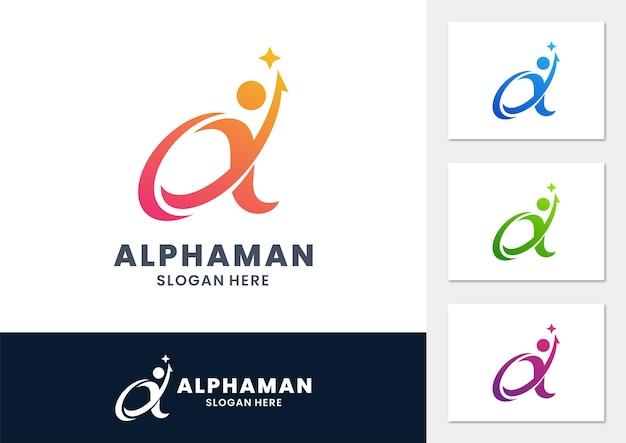 Zakelijke alfa met mensen gradiënt logo vector