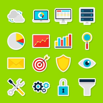 Zakelijke analytics-stickers. vector illustratie vlakke stijl. verzameling van big data-symbolen.