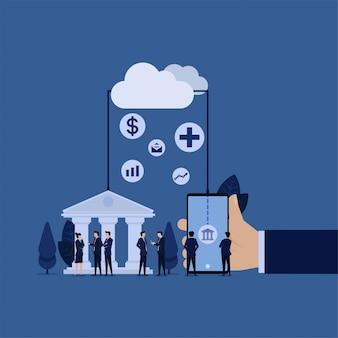 Zakelijke bankintegratie mobiele online applicatie met verzekering gezondheidsgeldinvestering.