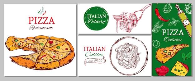 Zakelijke banner van het italiaanse restaurant met pizzadeegwaren en verschillende ingrediënten