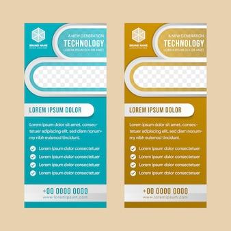 Zakelijke banner verticale ontwerpsjabloon oprollen