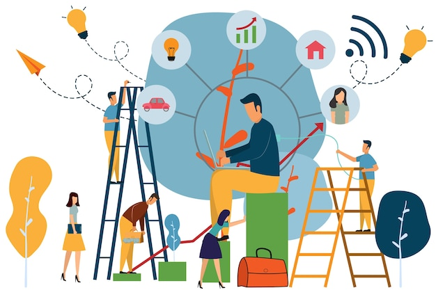 Zakelijke bedrijfsladder, het concept van loopbaanontwikkeling,