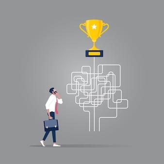Zakelijke besluitvorming twijfel over opties concept, beslissen de juiste oplossingsrichtingen voor succes