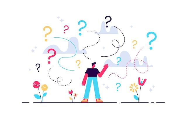 Zakelijke besluitvorming twijfel over opties verwarring kleine persoon concept.