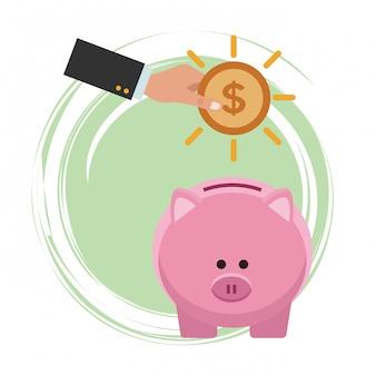 Zakelijke besparing geld cartoon