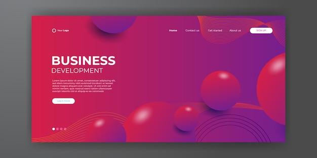 Zakelijke bestemmingspagina met abstracte moderne 3d-achtergrond. trendy abstracte vloeibare achtergrond voor het ontwerp van uw bestemmingspagina. minimale achtergrond voor voor websiteontwerpen.