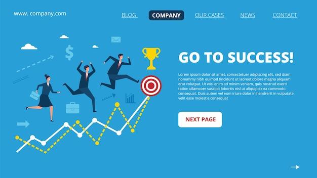 Zakelijke bestemmingspagina. succesvolle mensenkarakters. verschillende mensen rennen naar een website-sjabloon met een groot doel.