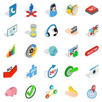 Zakelijke betaling iconen set, isometrische stijl
