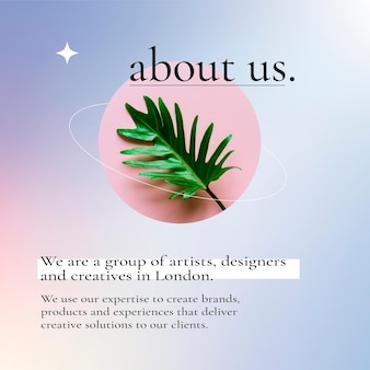 Zakelijke bewerkbare tekst op social media post met paarse kleurovergang, over ons