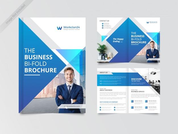 Zakelijke bi-fold brochure ontwerpsjabloon