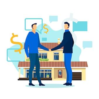 Zakelijke bijeenkomst.buying home.conclude een overeenkomst
