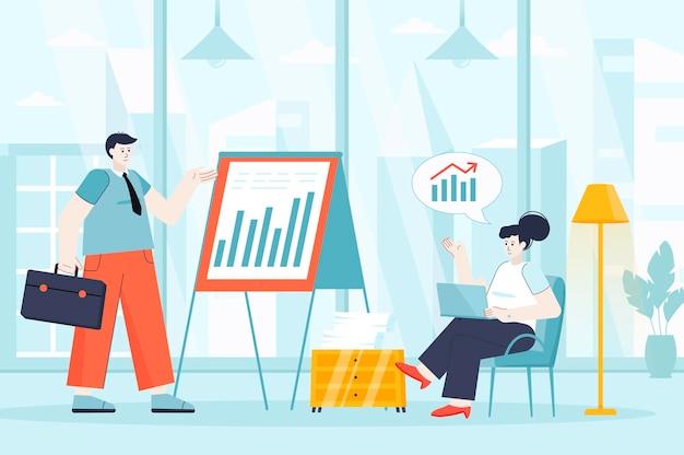 Zakelijke bijeenkomst concept in platte ontwerp illustratie van personen karakters voor bestemmingspagina