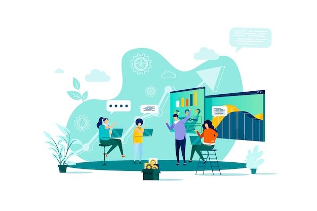 Zakelijke bijeenkomst concept in stijl met personen personages in situatie