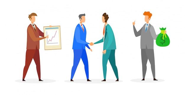 Zakelijke bijeenkomst, deal platte vectorillustratie
