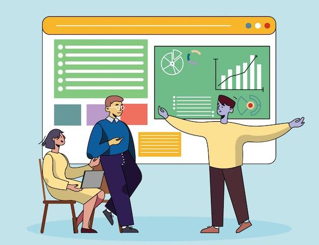 Zakelijke bijeenkomst en coaching proces cartoon