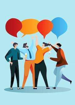 Zakelijke bijeenkomst en discussie met teamwork